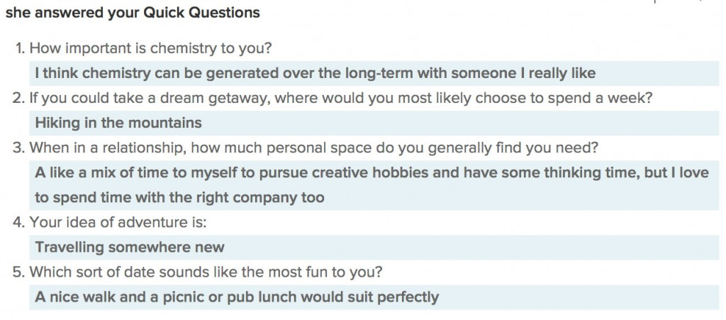 eharmony quick questions